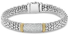 Lagos 18K Gold & Sterling Silver Diamond Lux Pave Station Bracelet, 18mm
