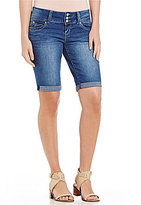 YMI Jeanswear WannaBettaButt Triple Button Wide Waistband Stretch Denim Bermuda Short