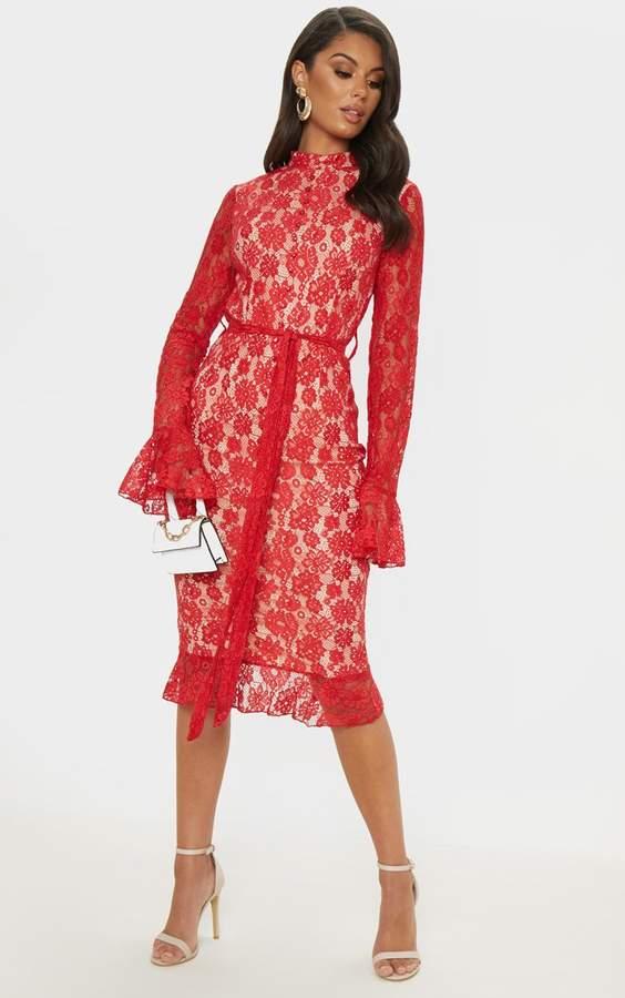 f70dede4741 Red Lace Button Detail Frill Hem Midi Dress