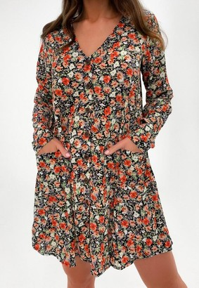 Missguided Black Floral Button Through Smock Dress