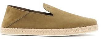 Tod's Logo-debossed Nubuck-leather Espadrille Loafers - Mens - Khaki