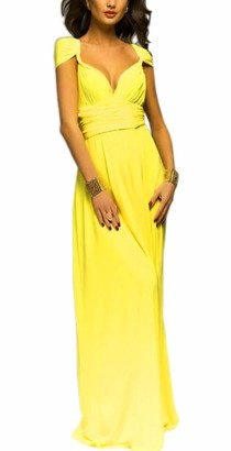 EMMA Women's Sexy V-Neck Ruffles Evening Dress Convertible Wrap Backless Cocktail Prom Dress Bandage Bridesmaid Elegant Skirt Long?PI