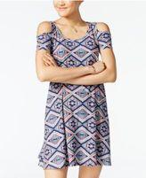 Planet Gold Juniors' Printed Cold-Shoulder Dress