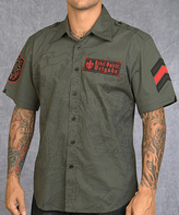 Rebel Spirit Olive 'Rebel Spirit Brigade' Embroidery Button-Up - Men's Regular
