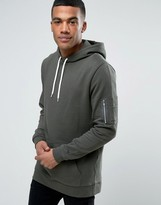 Asos Longline Hoodie With MA1 Pocket In Khaki