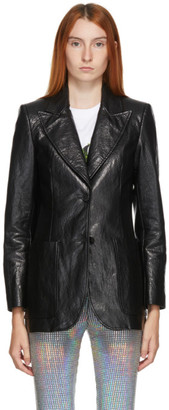 MSGM Black Faux-Leather Blazer