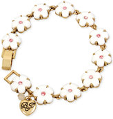 Betsey Johnson Gold-Tone Pink Crystal Flower Bracelet