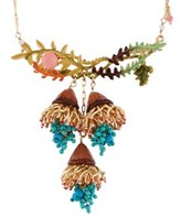 Les Nereides Chimera Plant Cascade Of Yellow And Turquoise Flowers On A Leafy Branch Short Necklace.