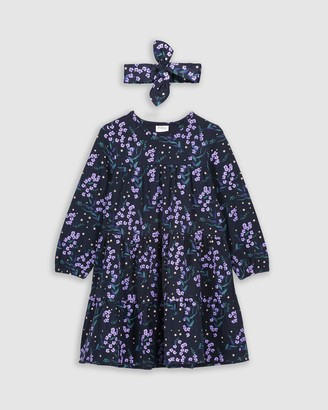 Milky Winter Floral Dress & Headband Set - Kids