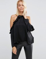 Asos Ruffle Cold Shoulder Top in Satin