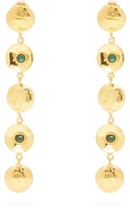 Sylvia Toledano - Disc Malachite Stone Drop Earrings - Womens - Green