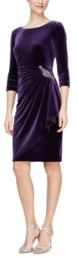 Alex Evenings Velvet Ruched-Side Scoop-Back Dress
