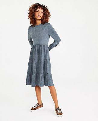 Ann Taylor Petite Tiered Mock Neck Shift Dress