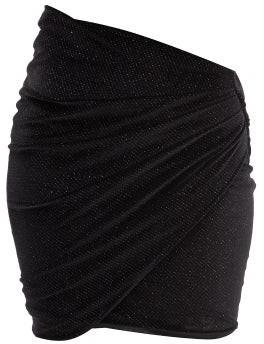 Alexandre Vauthier Asymmetric-waist Gathered Glitter-velvet Skirt - Black