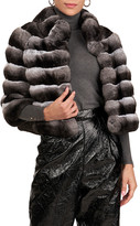 Gorski Chevron Pattern Chinchilla Fur 3/4 Sleeve Jacket