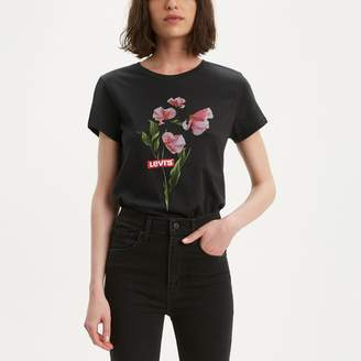 Levi's Floral Cotton T-Shirt with Short Sleeves