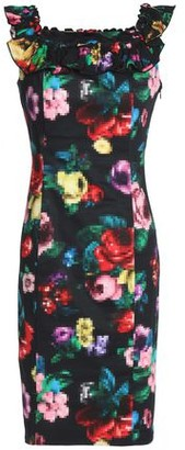 Love Moschino Ruffle-trimmed Printed Stretch-cotton Mini Dress