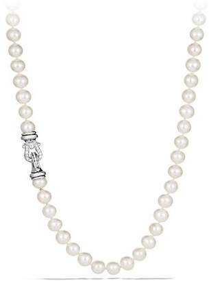 David Yurman Sterling Silver & White Cultured Freshwater Pearl Necklace With Diamonds/18""
