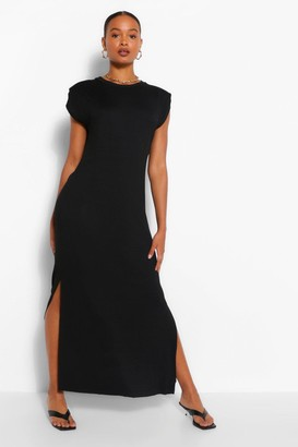 boohoo Shoulder Pad Jersey Maxi Dress