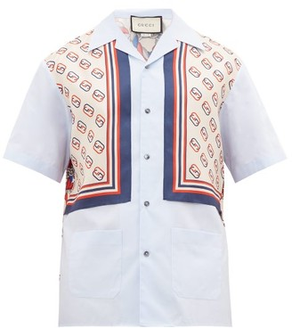Gucci Lion And Gg-print Cotton And Silk-panel Shirt - Mens - Blue Multi