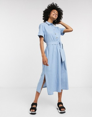 Selected denim shirt dress in blue
