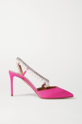 Aquazzura Exquisite 85 Crystal And Faux Pearl-embellished Grosgrain Slingback Pumps - Fuchsia