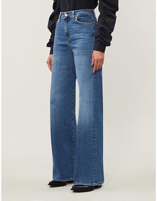 7 For All Mankind Lotta high-rise flared stretch-denim jeans