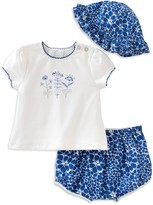 Absorba Girls' Pretty As a Flower Tee, Shorts & Hat Set