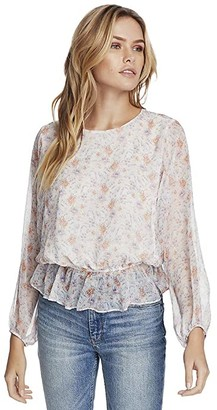 1 STATE Long Sleeve Woodland Gardens Dolman Sleeve Blouse (Soft Ecru) Women's Clothing