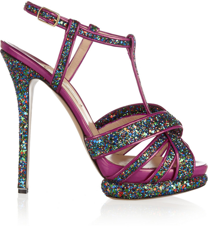 Nicholas Kirkwood Glitter-finished patent-leather sandals
