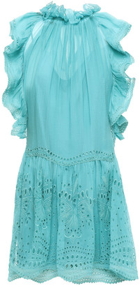 Alberta Ferretti Broderie Anglaise-paneled Cotton-blend Georgette Mini Dress