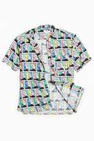 Urban Outfitters Comic Girl Rayon Short Sleeve Button-Down Shirt