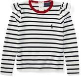 Ralph Lauren Ruffled Striped Cotton Sweater