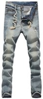Friendshop Men's Drawstring Ripped Denim Pants Skinny Jeans Wrinkled Pants