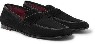 Dolce & Gabbana Leather-Trimmed Suede Penny Loafers