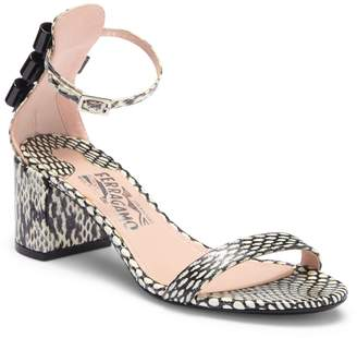 Salvatore Ferragamo Connie Genuine Elahpe Snakeskin Block Heel Sandal