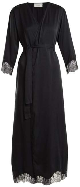 Icons Cyclamen Lace Trimmed Silk Satin Robe - Womens - Black