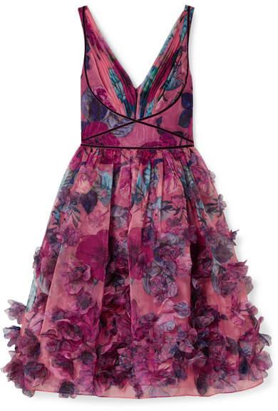 Marchesa Velvet-trimmed Printed Organza Dress - Pink
