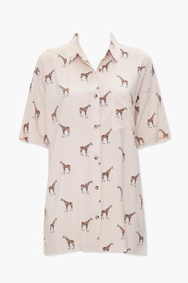 Forever 21 Giraffe Print Pocket Shirt