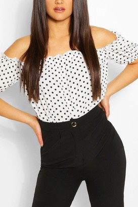 boohoo Woven Frill Detail Polka Dot Off The Shoulder one piece