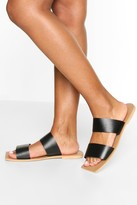 boohoo Wide Fit Double Strap Square Toe Sliders