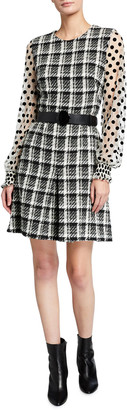 Akris Punto Plaid Peplum Hem Tulle-Sleeve Belted Dress