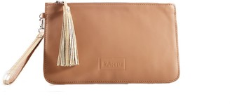''Pepper'' Natural Leather Clutch - Nude/Sand Reptile Print