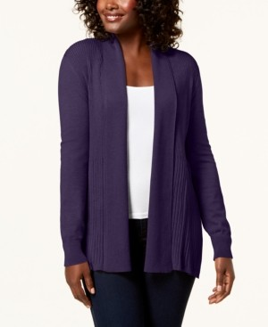 Karen Scott Plus Size Ribbed-Bottom Shawl-Collar Cardigan Sweater, Created for Macy's