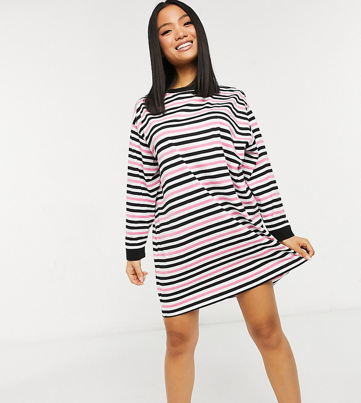 DESIGN Petite oversized long sleeve t-shirt dress in bright pink black and white stripe