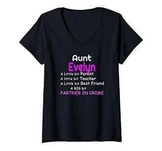 Womens Aunt Evelyn Parent Teacher Friend Partner in Crime Gift V-Neck T-Shirt