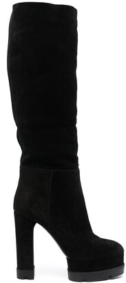 Casadei Platform Suede Leather Boots