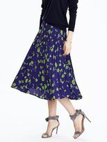 Banana Republic Button Front Pleated Midi Skirt