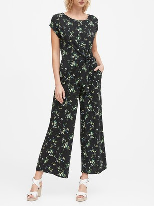 Banana Republic Print Tie-Front Cropped Jumpsuit