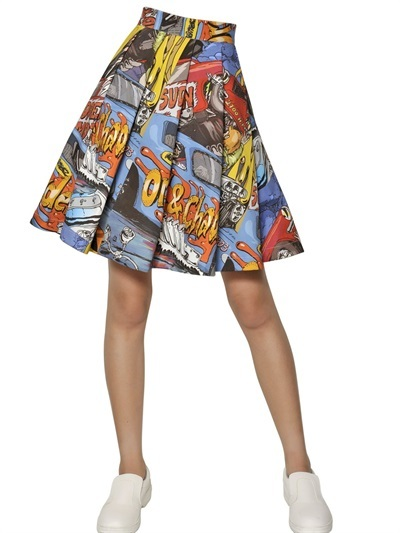 J.W.Anderson Pleated Printed Cotton Twill Skirt